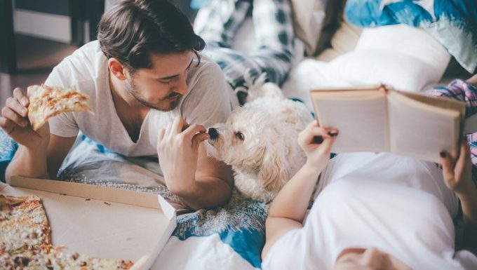 Couple having pizza in the bed in bedroom with their lovely dog.