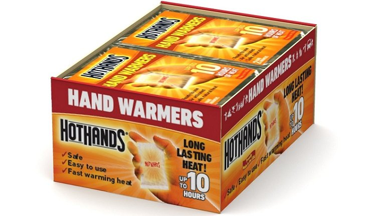 A box of HotHands hand warmers is displayed against a white background.