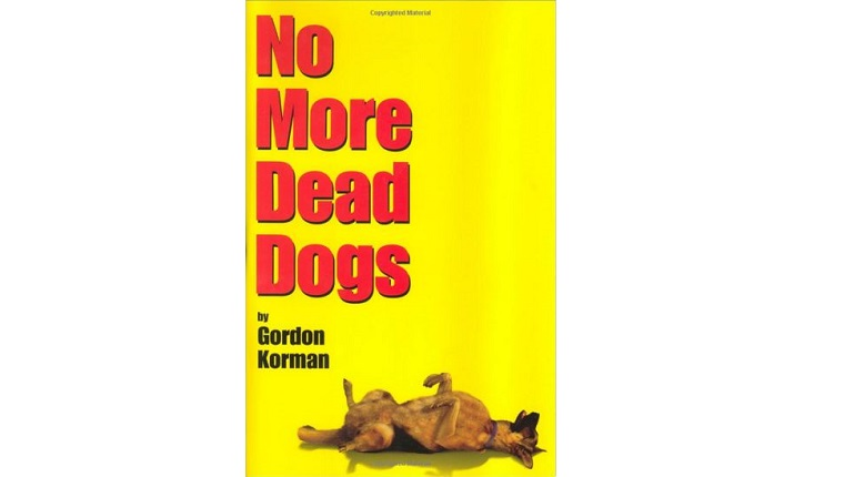 Cover art for No More Dead Dogs. A German Shepherd lies on his back in front of a yellow background.