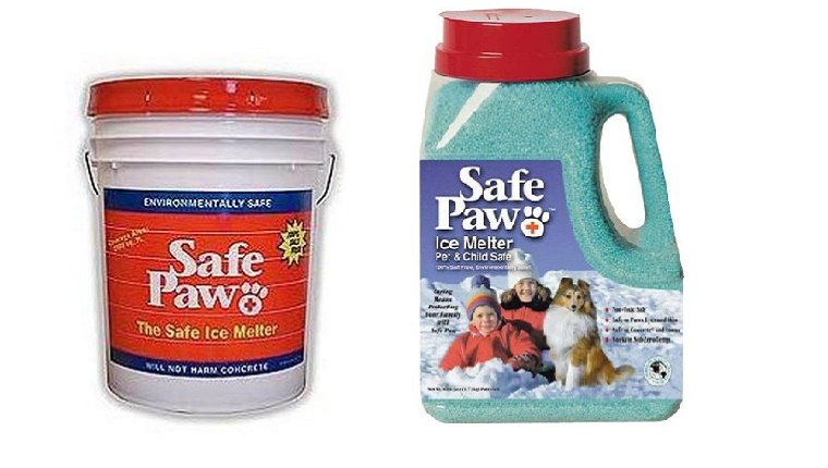 A bucket and a smaller container of Safe Paw ice melter is displayed against a white background.