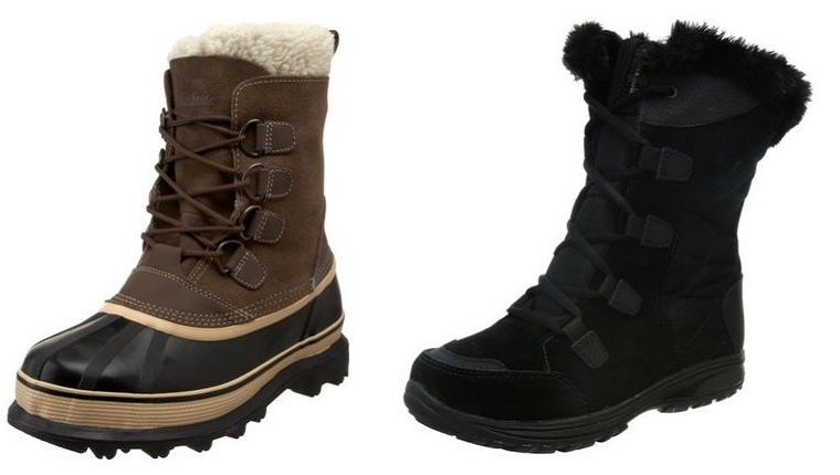 A men's winter boot and a women's winter boot are displayed against a white background.