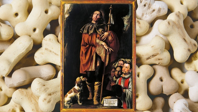 A painting of Saint Roch with a dog at his legs holding bread in his mouth.
