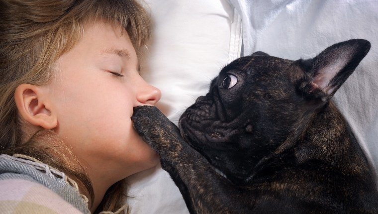 Dog places paw on girl's mouth