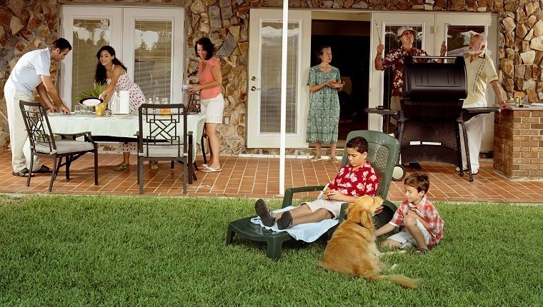 Family having barbeque