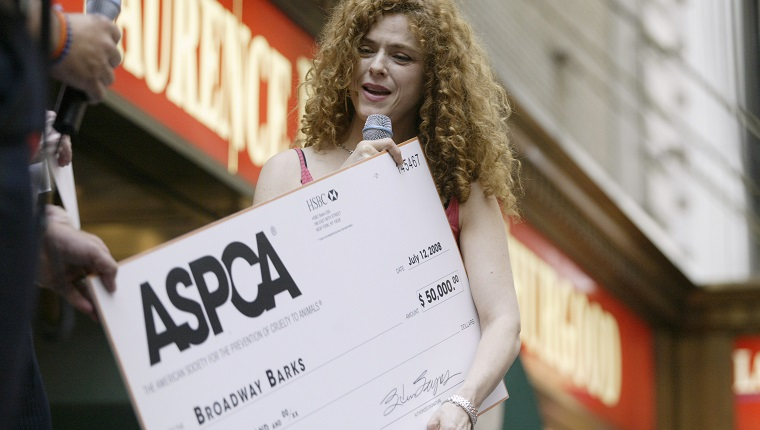 """NBC News -- 10th Annual """"Broadway Barks"""" -- Pictured: Actress Bernadette Peters attends the 10th Annual """"Broadway Barks"""" cat and dog adopt-a-thon at the Shubert Theater on Broadway in Times Square, NY on July 13, 2008 -- Photo by: Curtis Means/NBC NewsWire"""