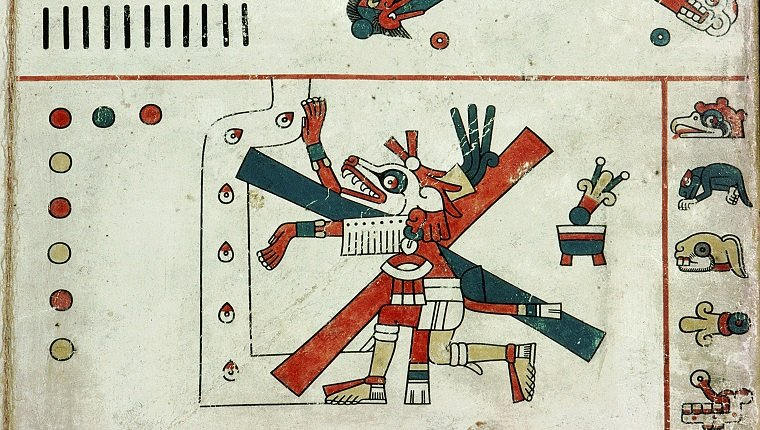 Detail of a panel from the Codex Fejervary Mayer, Xolotl, the Evening Star, at the crossroads of fate. Mexico. Mixtec style. before 1521.