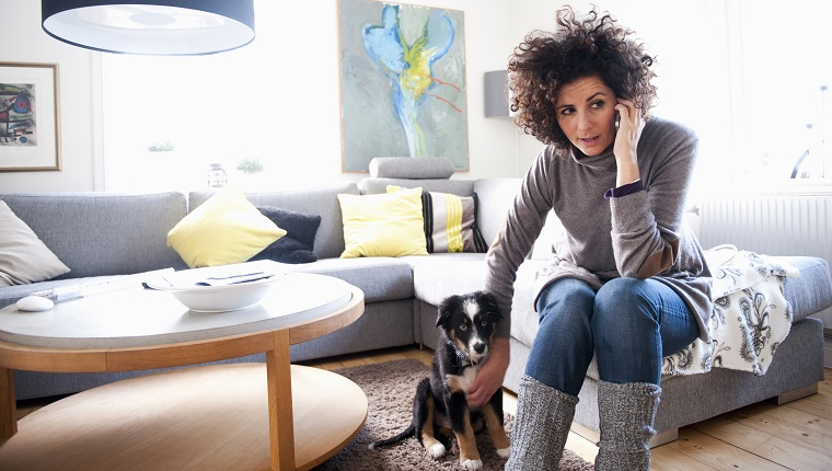 Mature women using mobile phone while sitting with pet dog in living room