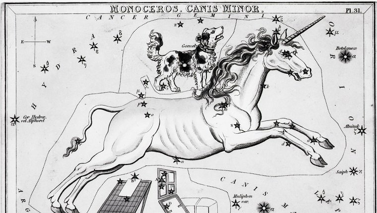 (Original Caption) Illustration depicting a view of the heavens, with the constellations Monoceros, Canis Minor, and Atelier Typographique. Undated engraving.