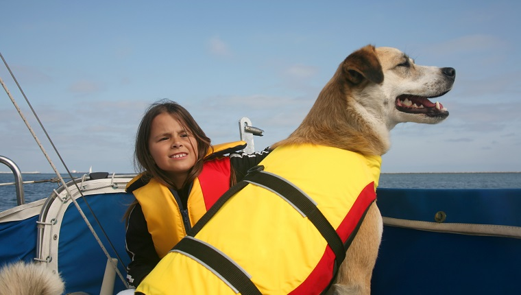 Akita and Australian shepard mixed breed dog and girl sailing across the water http://www.microstockgroup.com/lightbox/transport.jpg