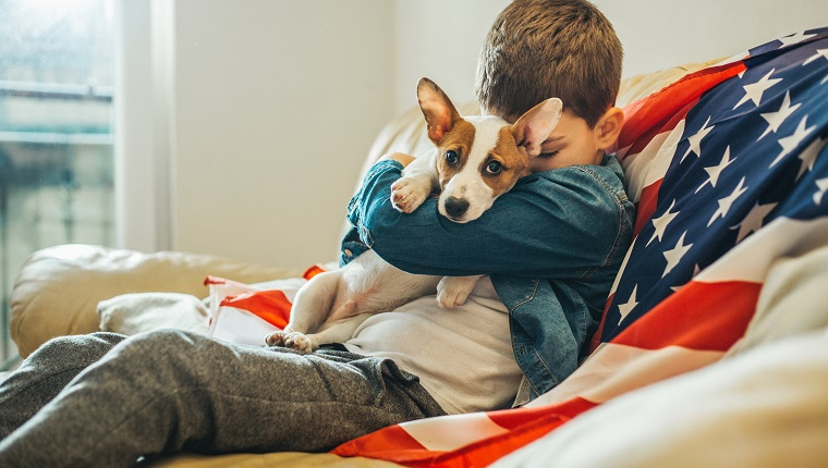 Boy and a dog sitting on the sofe at home with american flag
