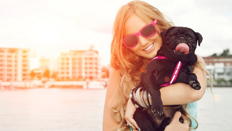 Cute puppy dog and female owner.
