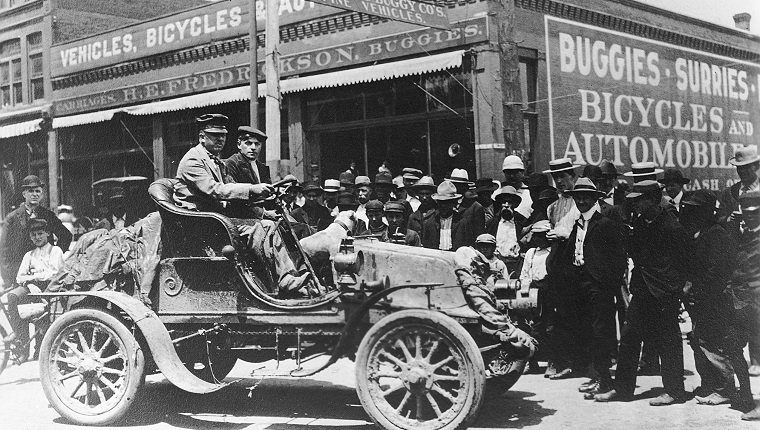 UNKNOWN — 1903: Physician Horatio Nelson Jackson (at wheel) and his driving partner Sewall K. Crocker became the first men to drive an automobile across the United States. Starting in San Francisco, CA, they arrived in New York City on July 26 after a trip that took 63 days, 12 hours, and 30 minutes. Over 800 gallons of gasoline were needed to complete the journey in this Winton.