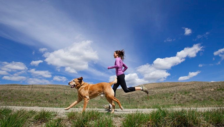 A female and her yellow lab jogging down a deserted dirt road.