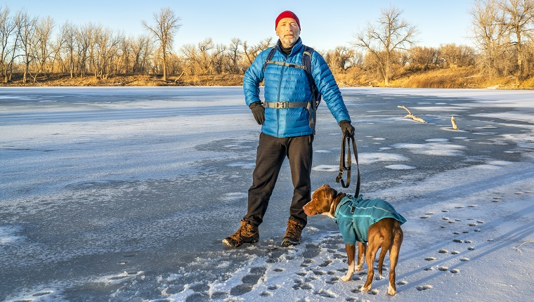 senior male hiker with a pitbull dog enjoys sunset on a shore of a frozen lake