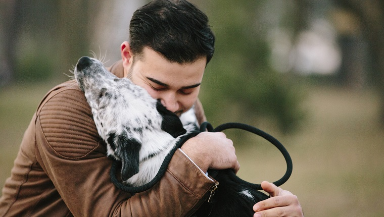 young man, mixed-breed dog, puppy, park