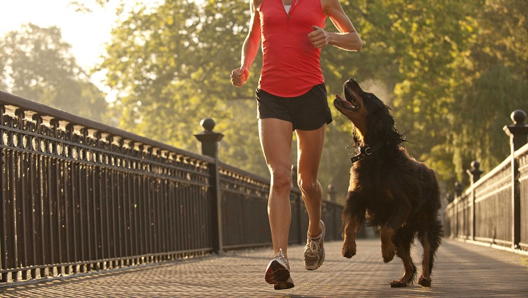 woman running in park with happy dog