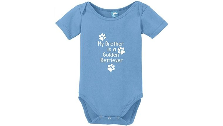 My Brother is A Golden Retriever Printed Infant Bodysuit Baby Romper