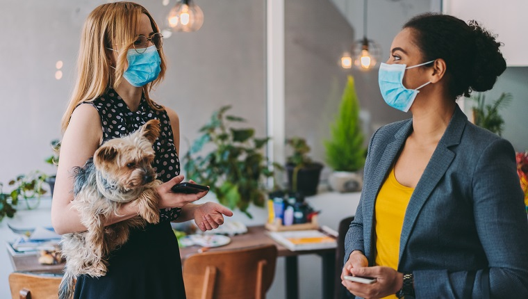Coworkers in the office during COVID-19 pandemic, wearing protective masks on face and keeping distance