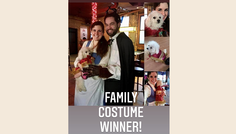 """Ecstatic to win the """"family"""" category for the It's All About the Paws costume contest"""