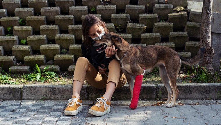 A mid adult woman in the process of adopting an injured dog from a shelter.