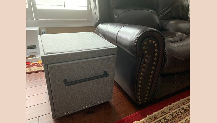 The stairs in the folded-up ottoman position