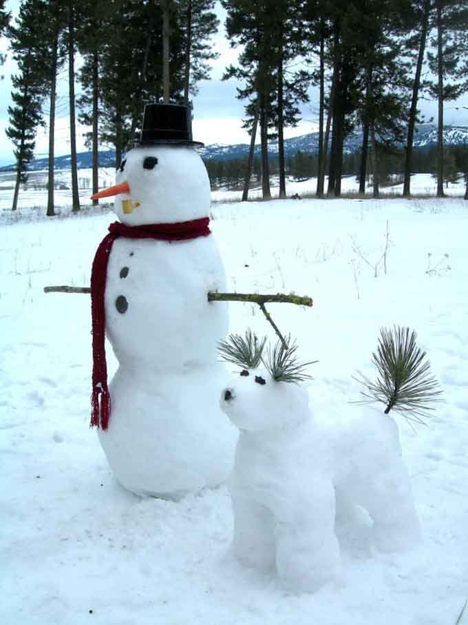 Snowman And Dog On A Walk